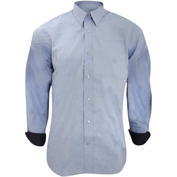 textil Herre Skjorter m. lange ærmer Kustom Kit KK189 Light Blue/Navy