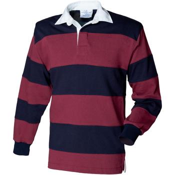 textil Herre Polo-t-shirts m. lange ærmer Front Row FR08M Burgundy/Navy