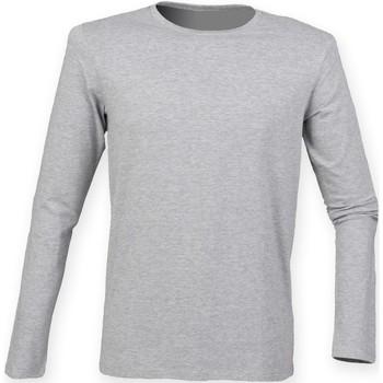 textil Herre Langærmede T-shirts Skinni Fit SF124 Heather Grey