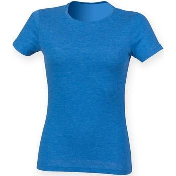 textil Dame T-shirts m. korte ærmer Skinni Fit SK161 Blue Triblend