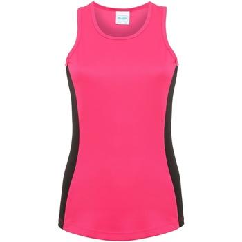 textil Dame Toppe / T-shirts uden ærmer Awdis JC016 Hot Pink/Jet Black