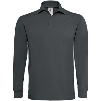 textil Herre Polo-t-shirts m. lange ærmer B And C PU423 Dark Grey