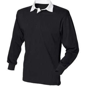 textil Herre Polo-t-shirts m. lange ærmer Front Row FR100 Black/White