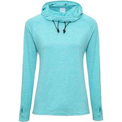 textil Dame Langærmede T-shirts Awdis Cowl Neck Ocean Blue Melange