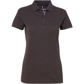 textil Dame Polo-t-shirts m. korte ærmer Asquith & Fox Contrast Charcoal/ Heather Grey