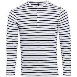 textil Herre Langærmede T-shirts Premier Long John White/Navy