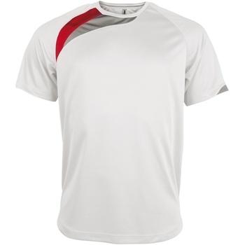 textil Herre T-shirts m. korte ærmer Kariban Proact PA436 White/ Red/ Storm Grey