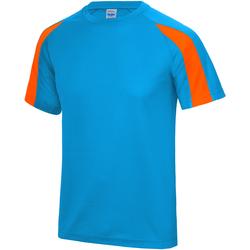 textil Herre T-shirts m. korte ærmer Just Cool JC003 Sapphire Blue/ Electric Orange