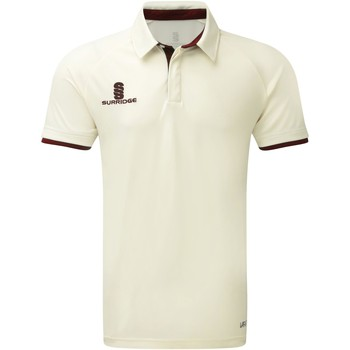 textil Dreng Polo-t-shirts m. korte ærmer Surridge SU13B White/Maroon Trim