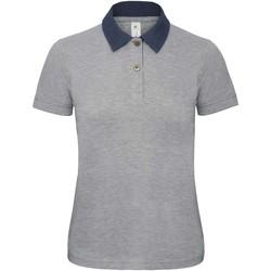 textil Dame Polo-t-shirts m. korte ærmer B And C B803F Denim/ Heather Grey