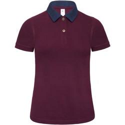 textil Dame Polo-t-shirts m. korte ærmer B And C B803F Denim/ Burgundy