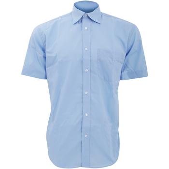 textil Herre Skjorter m. korte ærmer Kustom Kit KK102 Light Blue