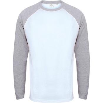 textil Herre Langærmede T-shirts Skinni Fit SF271 White / Heather Grey