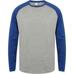 textil Herre Langærmede T-shirts Skinni Fit SF271 Heather Grey / Royal