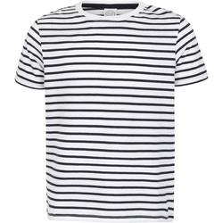 textil Børn T-shirts m. korte ærmer Skinni Fit SM202 White/Oxford Navy