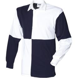textil Herre Polo-t-shirts m. lange ærmer Front Row FR02M White/Navy (White collar)