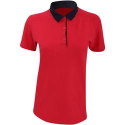 textil Dame Polo-t-shirts m. korte ærmer Anvil 6280L Red/ Navy