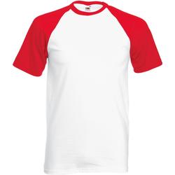 textil Herre T-shirts m. korte ærmer Fruit Of The Loom 61026 White/Red