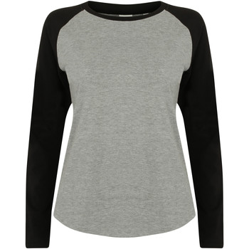 textil Dame Langærmede T-shirts Skinni Fit SK271 Heather Grey / Black