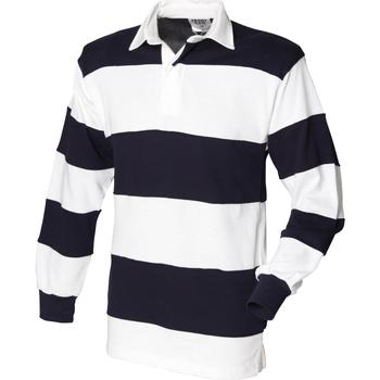 textil Herre Polo-t-shirts m. lange ærmer Front Row FR08M White & Navy (White collar)