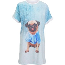 textil Dame Pyjamas / Natskjorte Christmas Shop CS043 Light Blue Pug