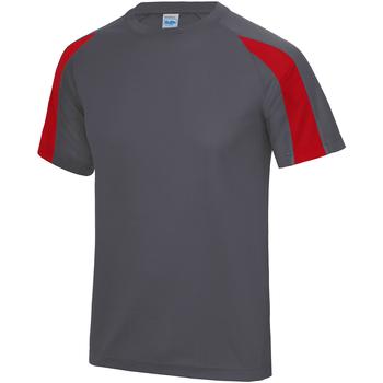 textil Herre T-shirts m. korte ærmer Just Cool JC003 Charcoal/ Fire Red