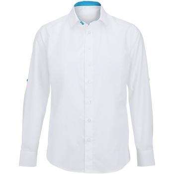 textil Herre Skjorter m. lange ærmer Alexandra Hospitality White/ Peacock