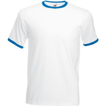 textil Herre T-shirts m. korte ærmer Fruit Of The Loom 61168 White/Royal Blue