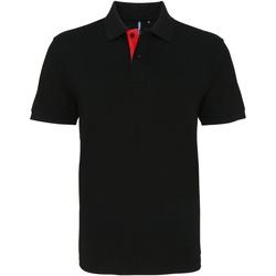 textil Herre Polo-t-shirts m. korte ærmer Asquith & Fox AQ012 Black/ Red