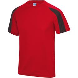 textil Herre T-shirts m. korte ærmer Just Cool JC003 Fire Red/Jet Black