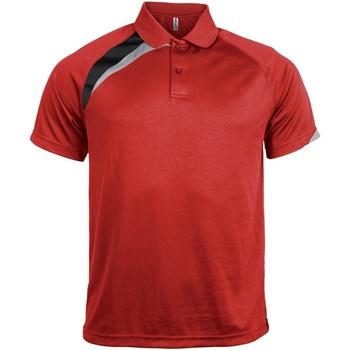 textil Herre Polo-t-shirts m. korte ærmer Kariban Proact PA457 Red/ Black/ Storm Grey