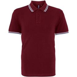 textil Herre Polo-t-shirts m. korte ærmer Asquith & Fox AQ011 Burgundy/ Sky