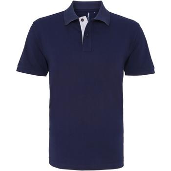 textil Herre Polo-t-shirts m. korte ærmer Asquith & Fox AQ012 Navy/ White