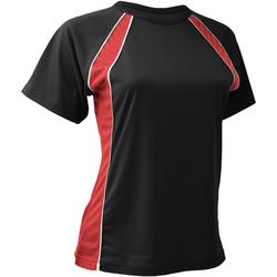 textil Dame T-shirts m. korte ærmer Finden & Hales LV251 Black/Red/White