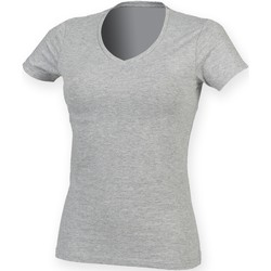 textil Dame T-shirts m. korte ærmer Skinni Fit SK122 Heather Grey