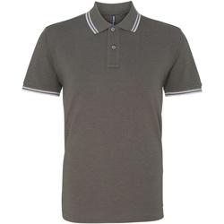 textil Herre Polo-t-shirts m. korte ærmer Asquith & Fox AQ011 Charcoal/ White