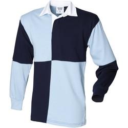 textil Herre Polo-t-shirts m. lange ærmer Front Row FR02M Navy/Sky (White collar)