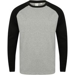 textil Herre Langærmede T-shirts Skinni Fit SF271 Heather Grey / Black