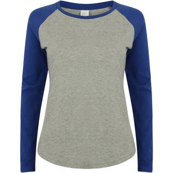 textil Dame Langærmede T-shirts Skinni Fit SK271 Heather Grey / Royal