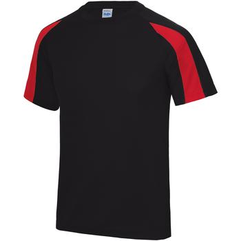 textil Herre T-shirts m. korte ærmer Just Cool JC003 Jet Black/Fire Red