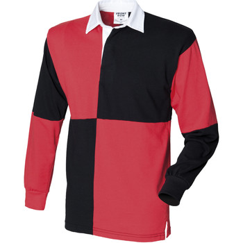 textil Herre Polo-t-shirts m. lange ærmer Front Row FR02M Black/Red (White collar)