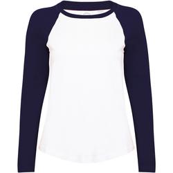 textil Dame Langærmede T-shirts Skinni Fit SK271 White / Oxford Navy