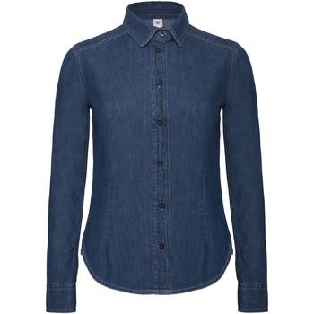 textil Dame Skjorter / Skjortebluser B And C Vision Deep Blue Denim