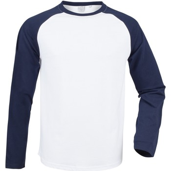 textil Herre Langærmede T-shirts Skinni Fit SF271 White / Oxford Navy