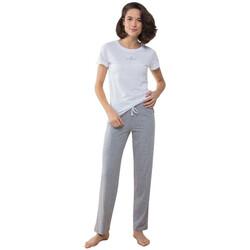 textil Dame Pyjamas / Natskjorte Towel City TC053 White/Heather Grey