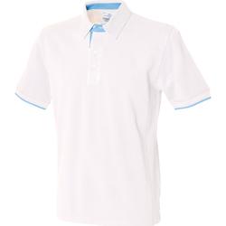 textil Herre Polo-t-shirts m. korte ærmer Front Row FR200 White/ Sky Blue
