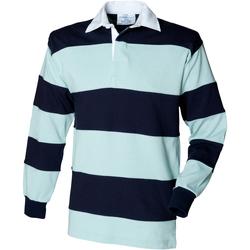 textil Herre Polo-t-shirts m. lange ærmer Front Row FR08M Duck Egg/Navy
