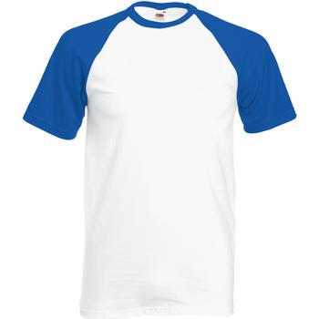 textil Herre T-shirts m. korte ærmer Fruit Of The Loom 61026 White/Royal Blue