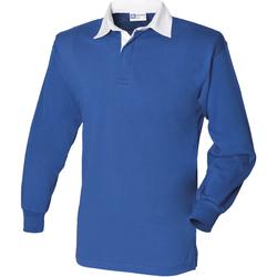 textil Herre Polo-t-shirts m. lange ærmer Front Row FR100 Royal/White