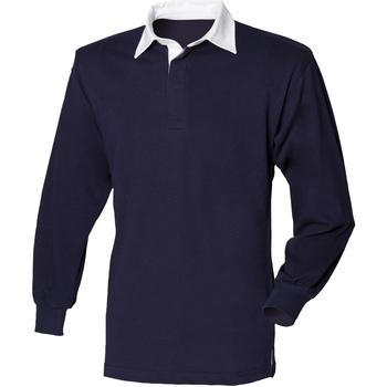 textil Herre Polo-t-shirts m. lange ærmer Front Row FR100 Navy/White